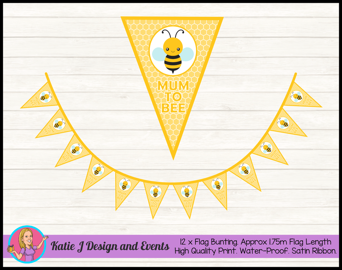 Yellow Bee Personalised Baby Shower Flag Bunting