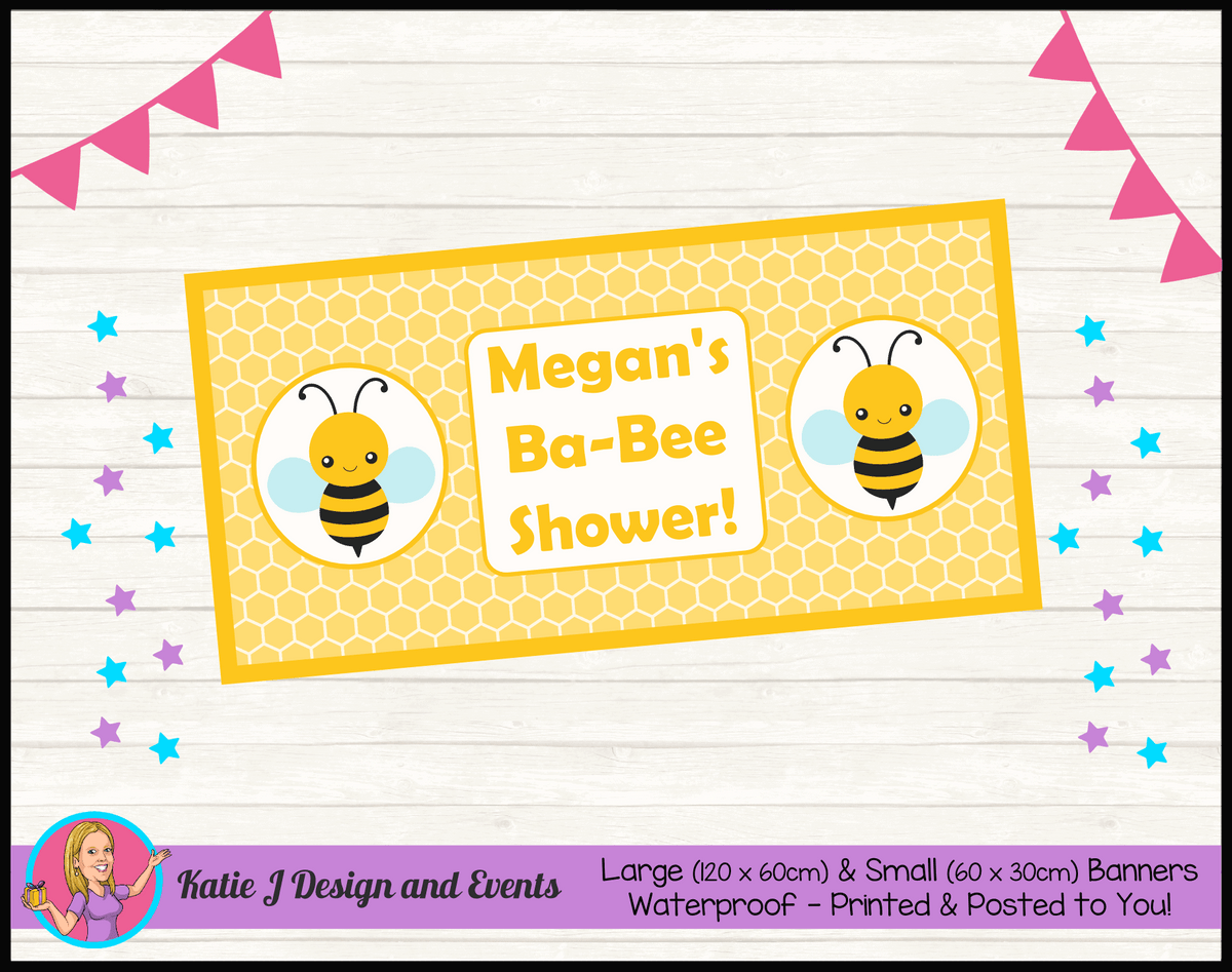 Yellow Bee Personalised Baby Shower Banners