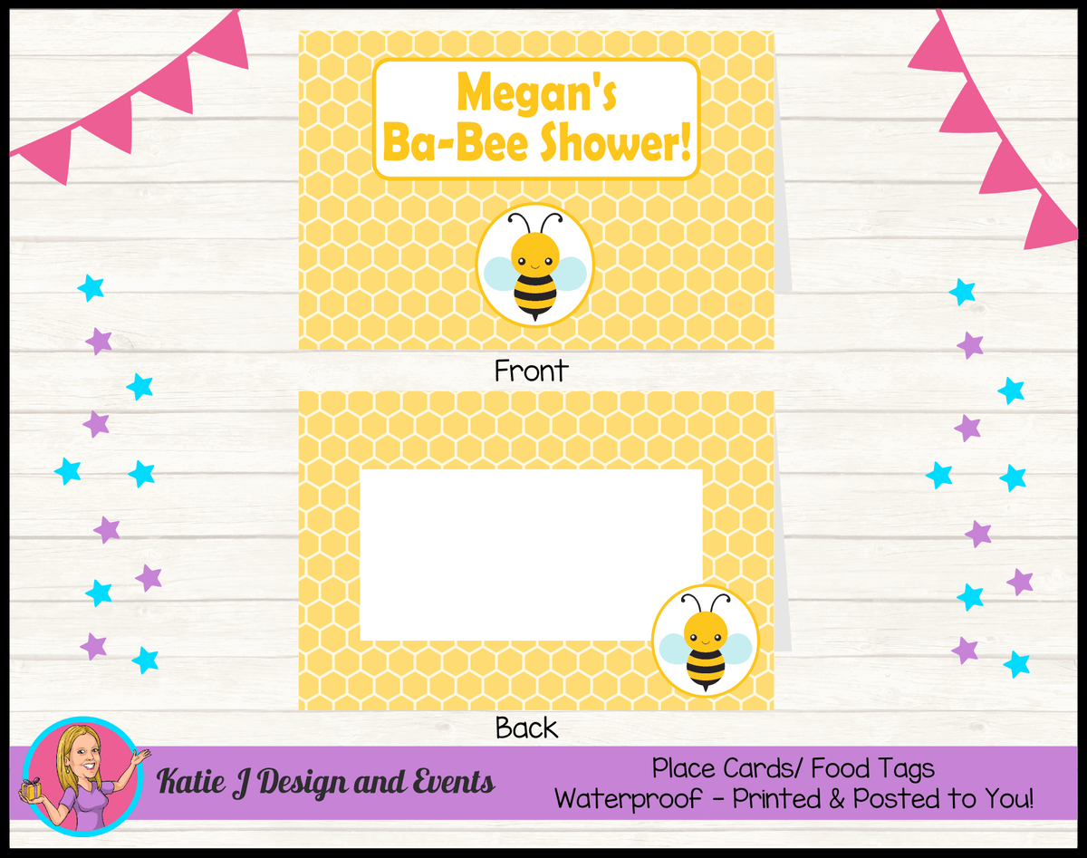 Yellow Bee Personalised Baby Shower Place Cards
