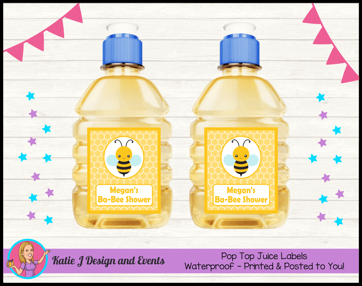 Yellow Bee Personalised Baby Shower Pop Top Juice Labels