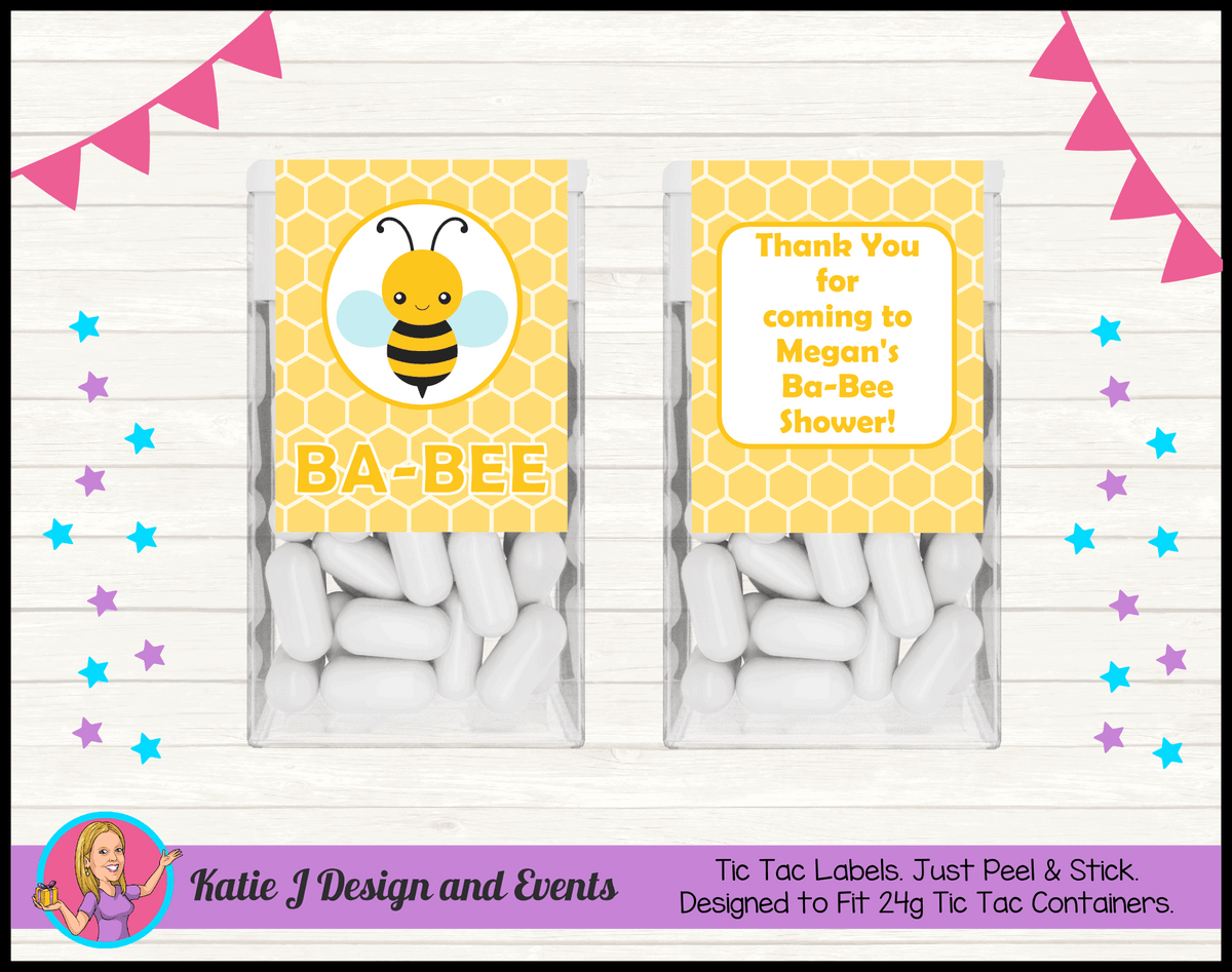 Yellow Bee Personalised Baby Shower Tic Tac Mint Labels Favours