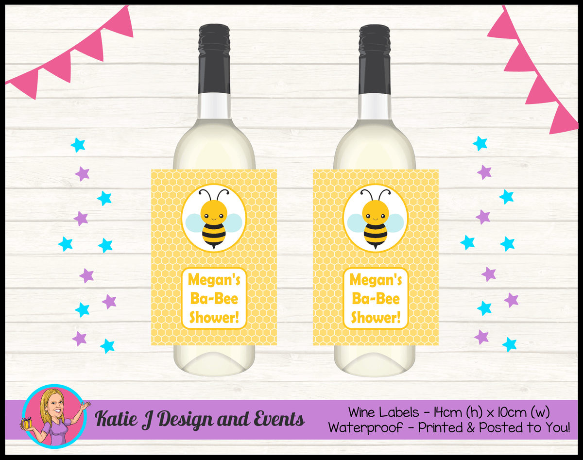 Yellow Bee Personalised Baby Shower Wine Bottle Labels
