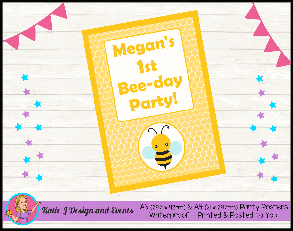 Bee Personalised Birthday Party Posters
