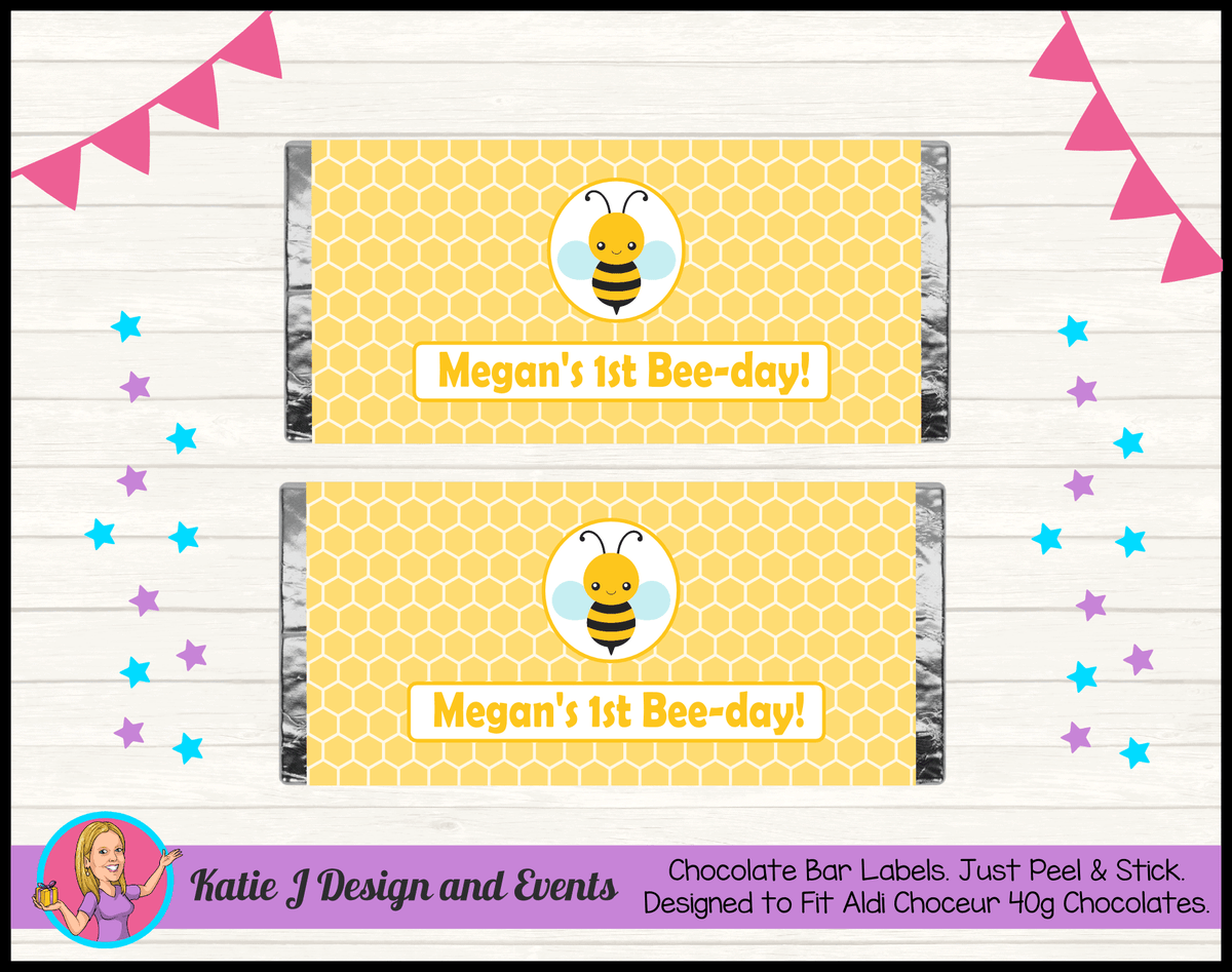Bee Personalised Birthday Party Chocolate Labels Wrappers