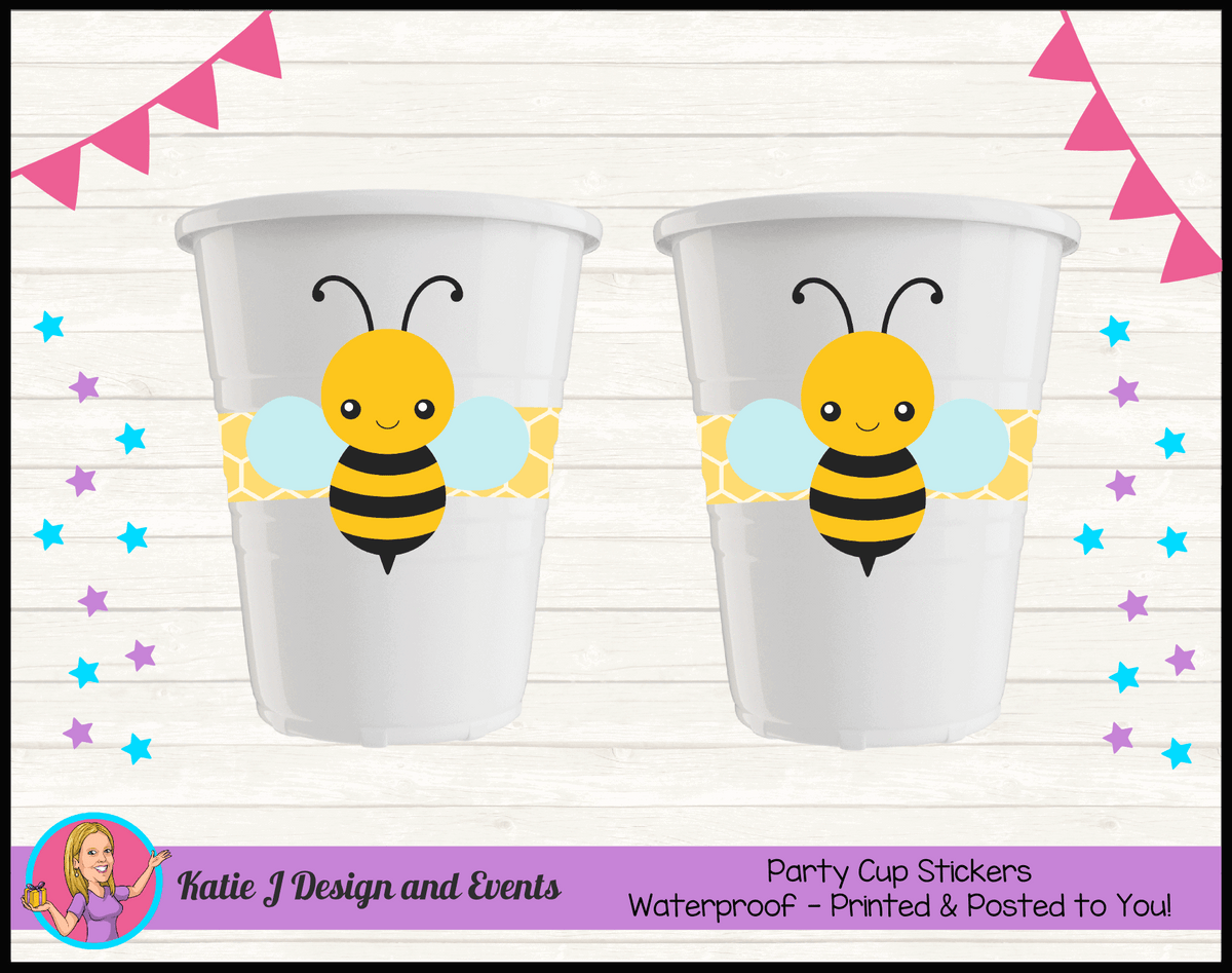 Bee Personalised Birthday Party Cup Stickers Cups