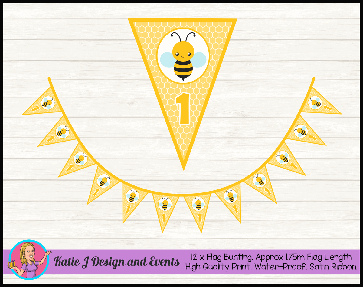 Bee Personalised Birthday Party Flag Bunting