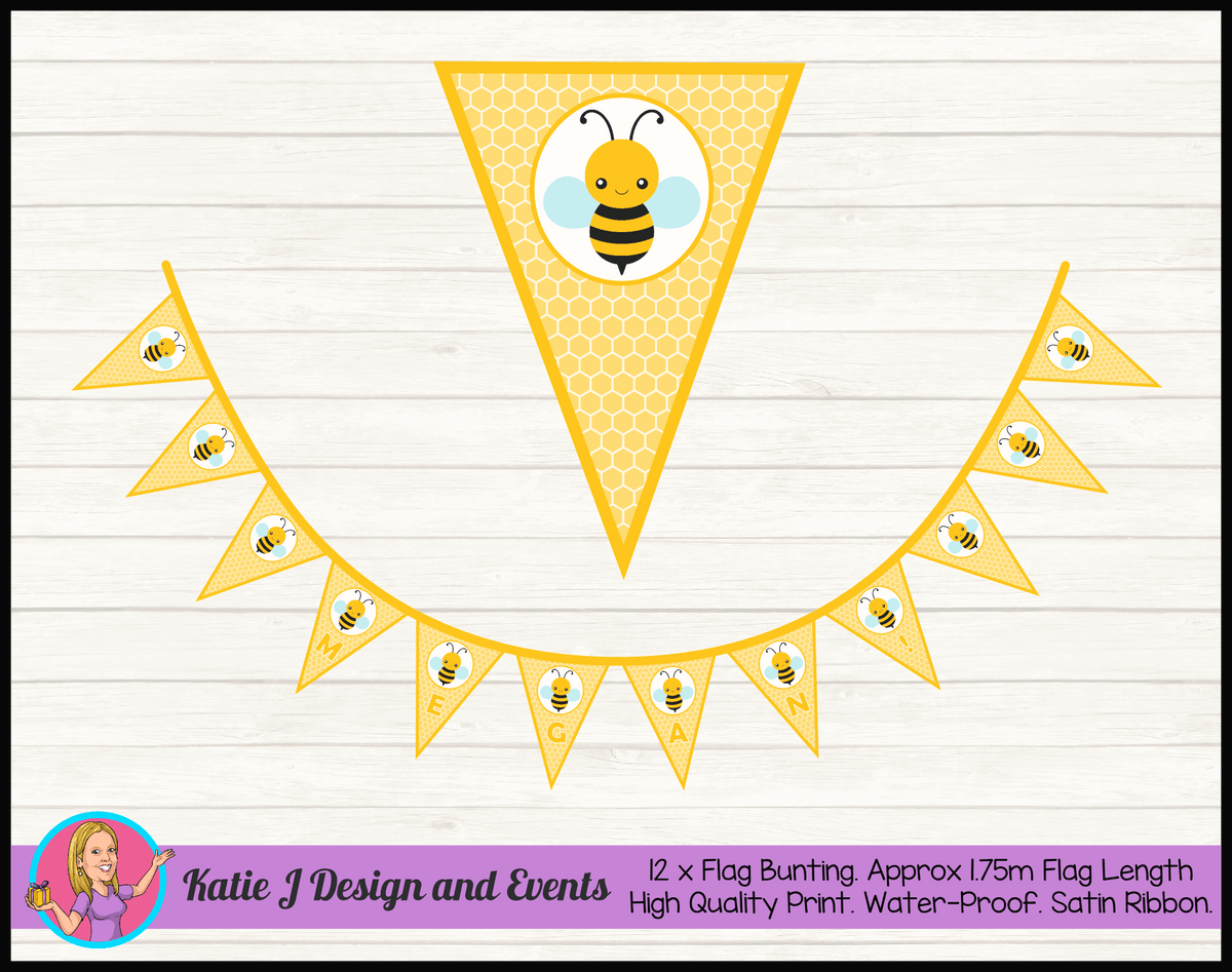 Bee Personalised Birthday Party Flag Bunting Name