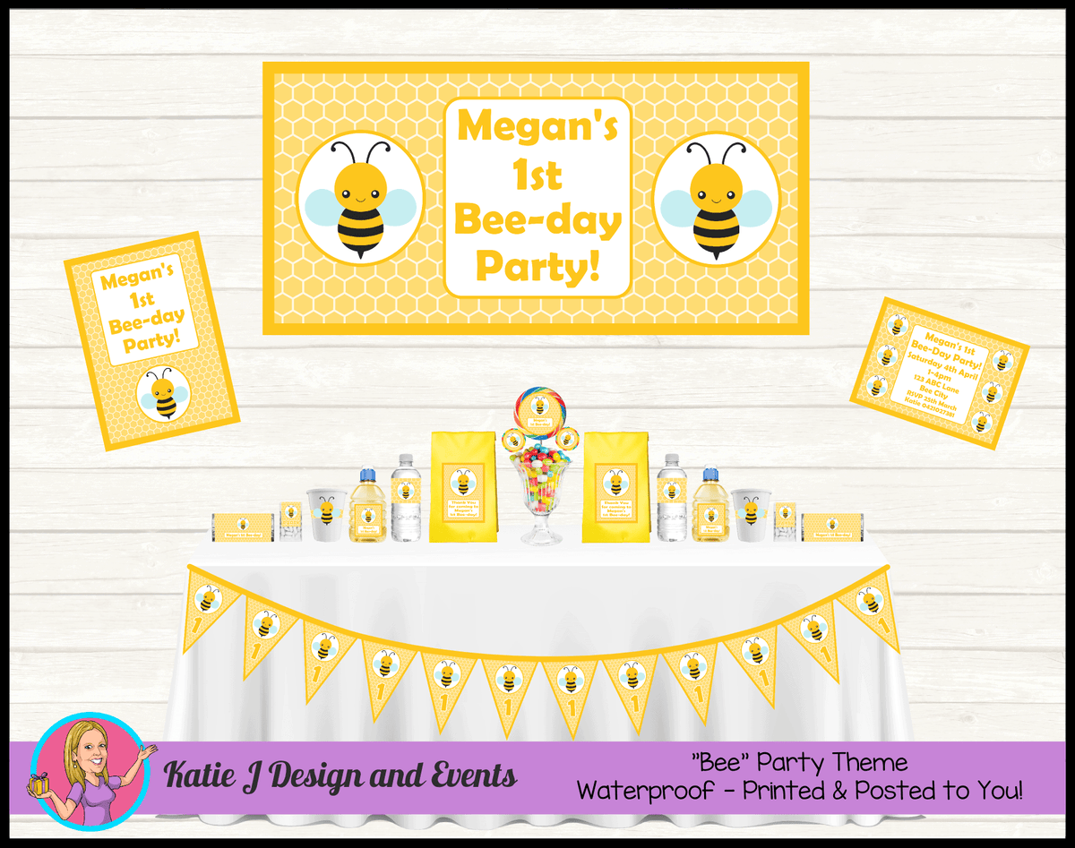 Personalised Bee Birthday Party Packs Decorations Supplies