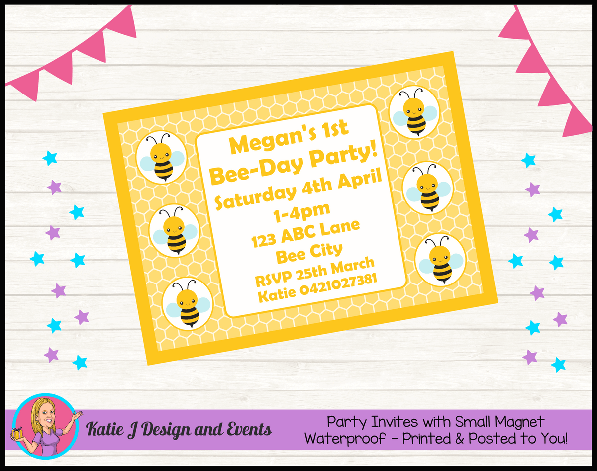 Bee Personalised Birthday Party Invites Invitations