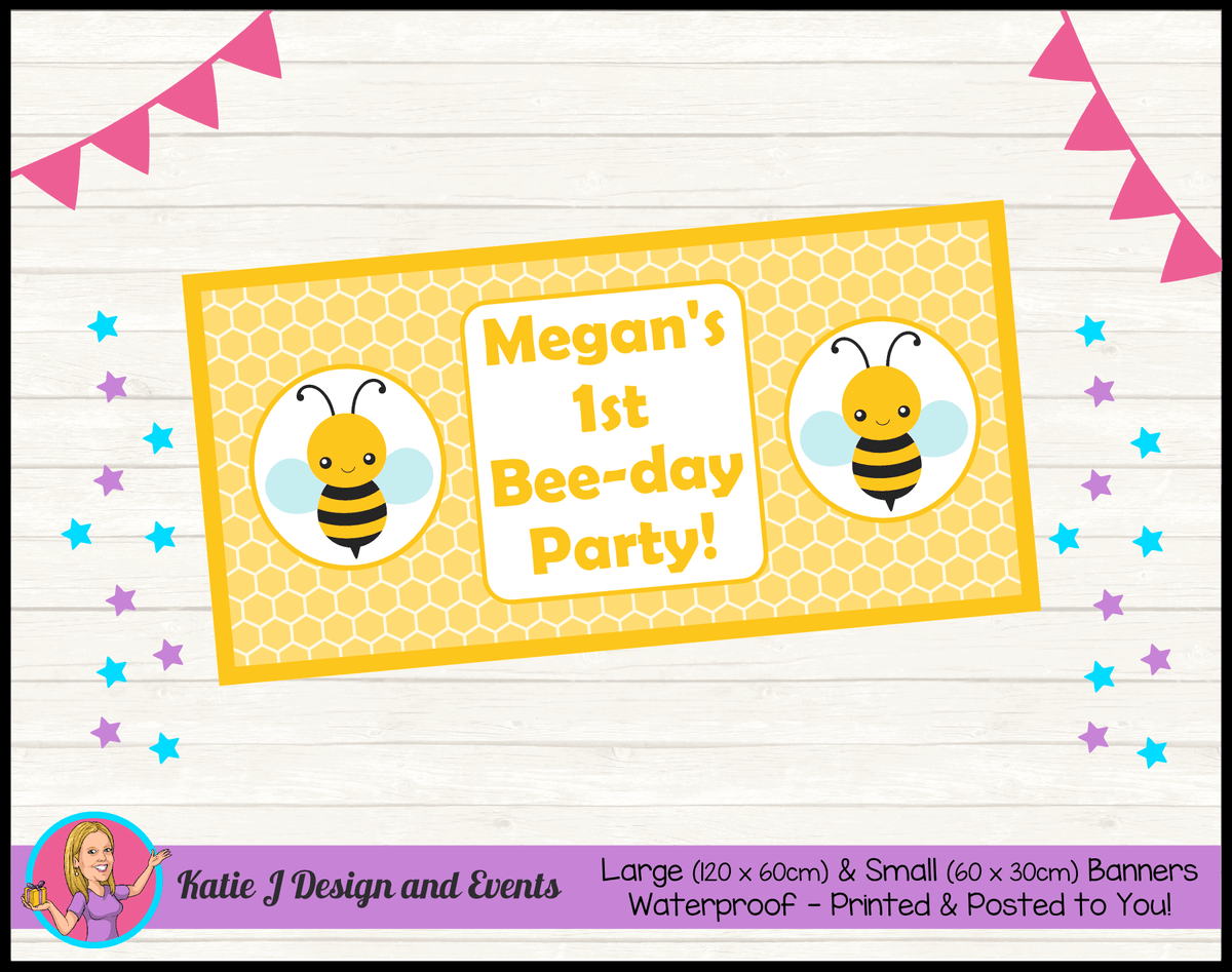 Bee Personalised Birthday Party Banners