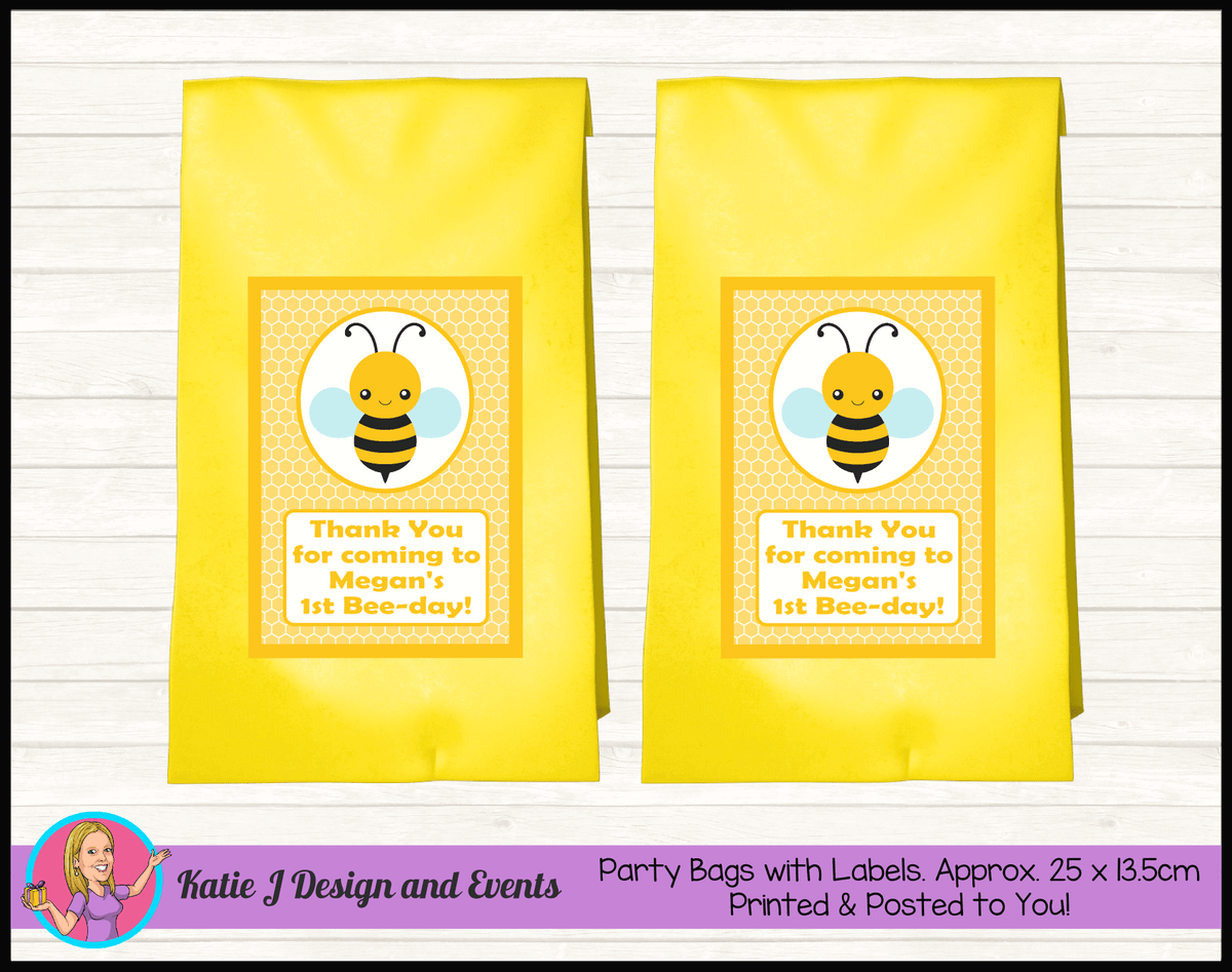 Bee Personalised Birthday Party Loot Bags