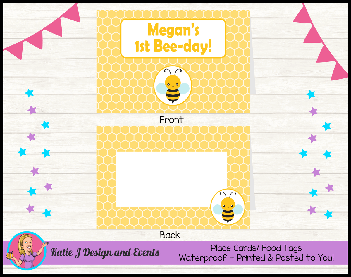 Bee Personalised Birthday Party Place Cards