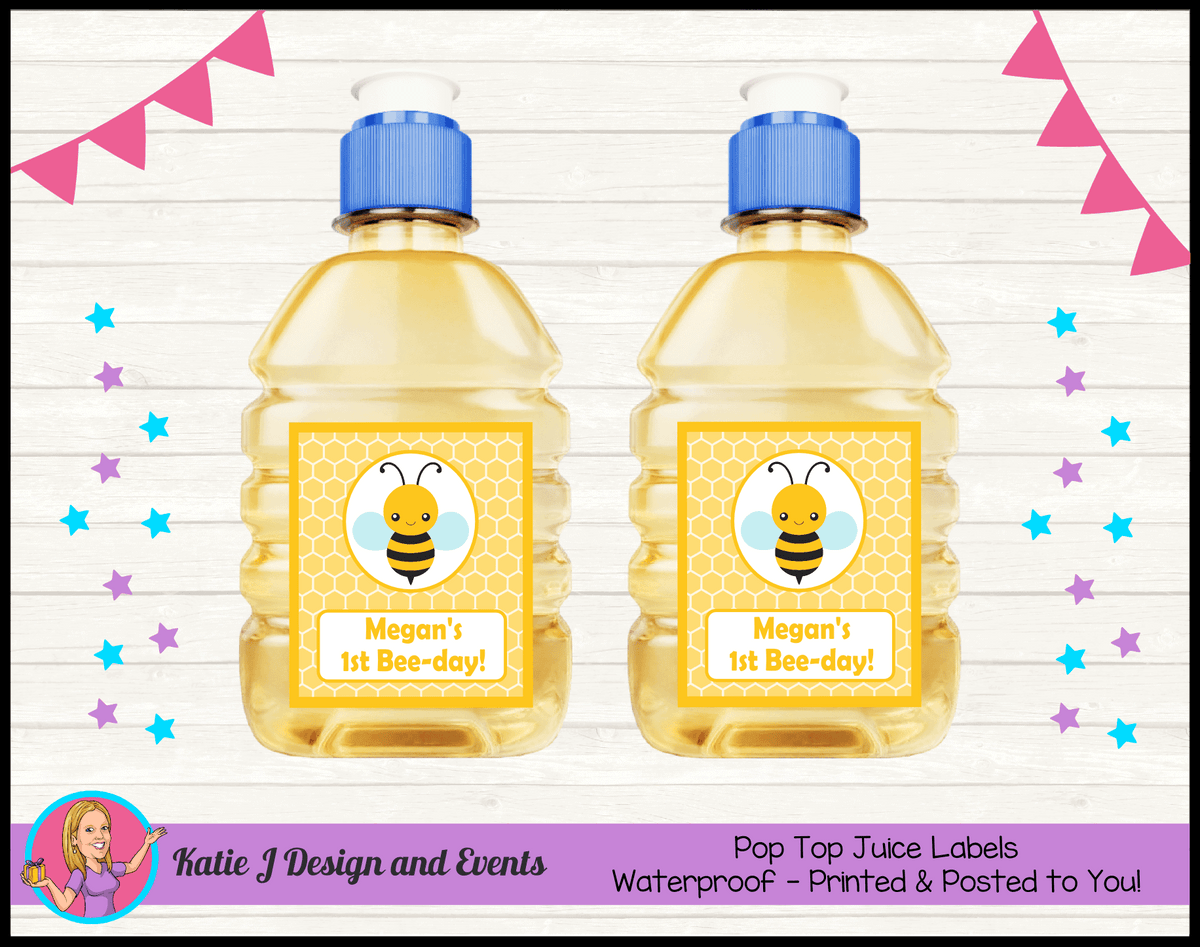Bee Personalised Birthday Party Pop Top Juice Labels