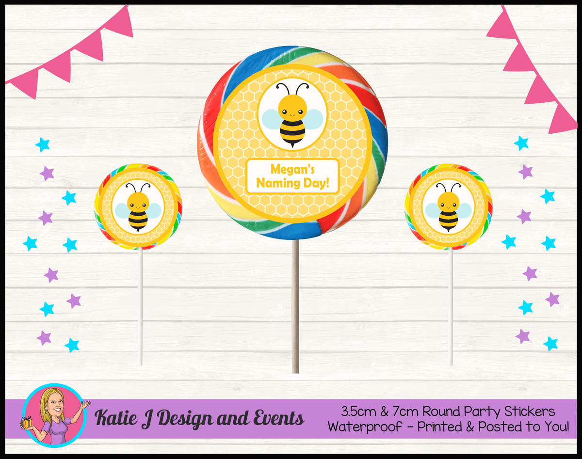 Yellow Bee Personalised Naming Day Party Round Lollipop Stickers