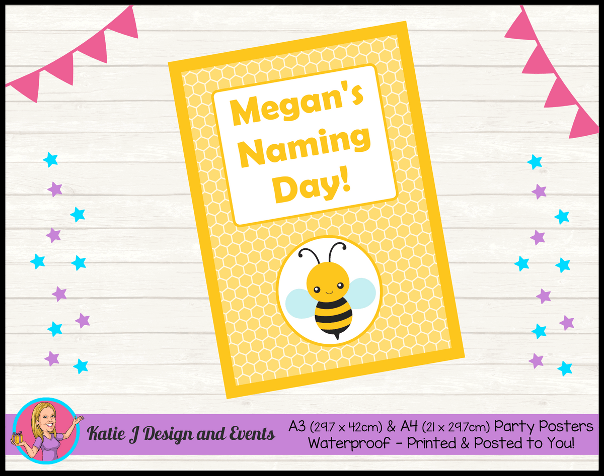 Yellow Bee Personalised Naming Day Party Posters