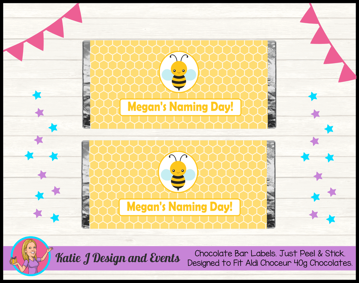 Yellow Bee Personalised Naming Day Party Chocolate Labels Wrappers