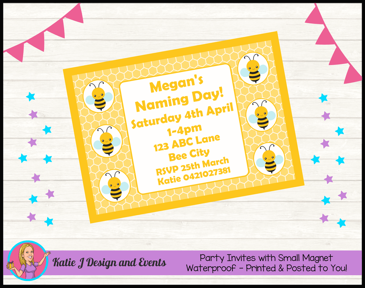 Yellow Bee Personalised Naming Day Party Invites Invitations