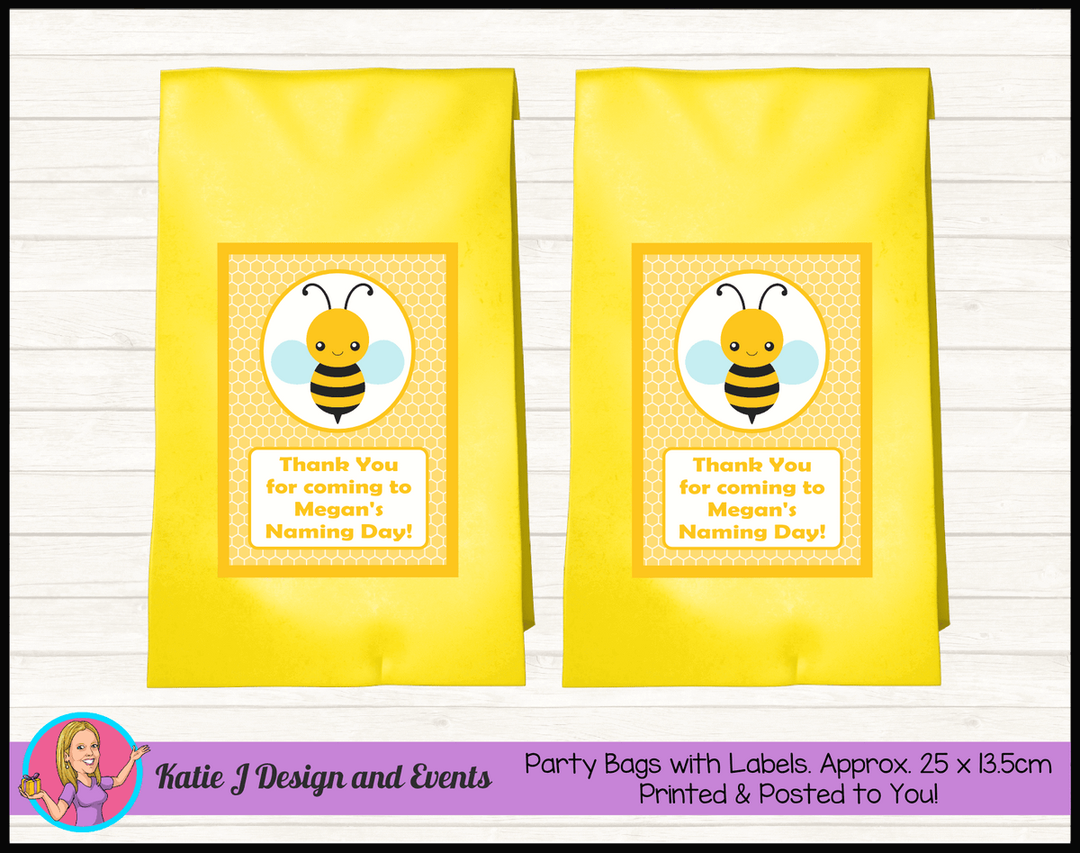 Yellow Bee Personalised Naming Day Party Loot Bags