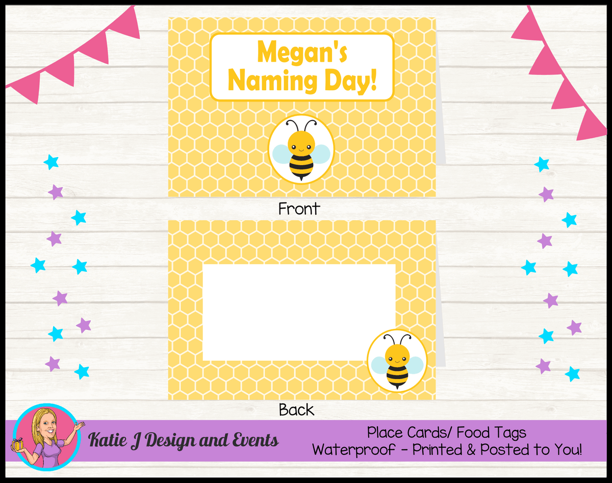Yellow Bee Personalised Naming Day Party Place Cards