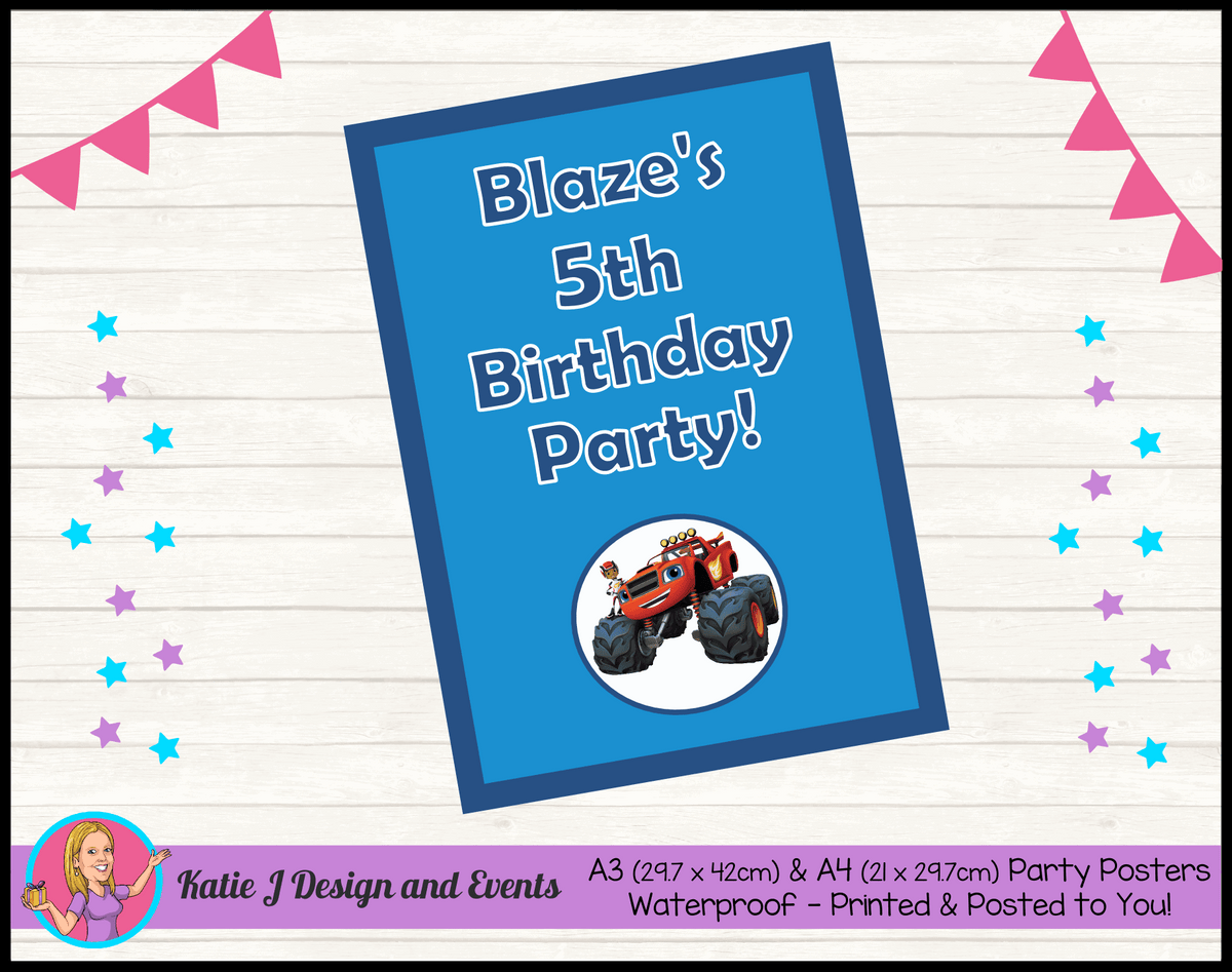 Blaze and the Monster Machines Personalised Birthday Party Posters