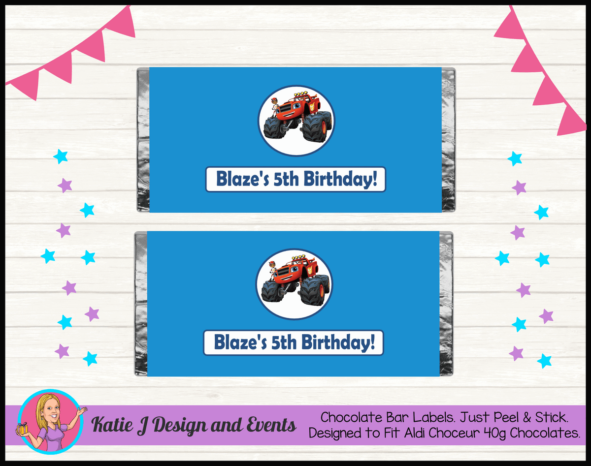 Blaze and the Monster Machines Personalised Chocolate Labels Wrappers