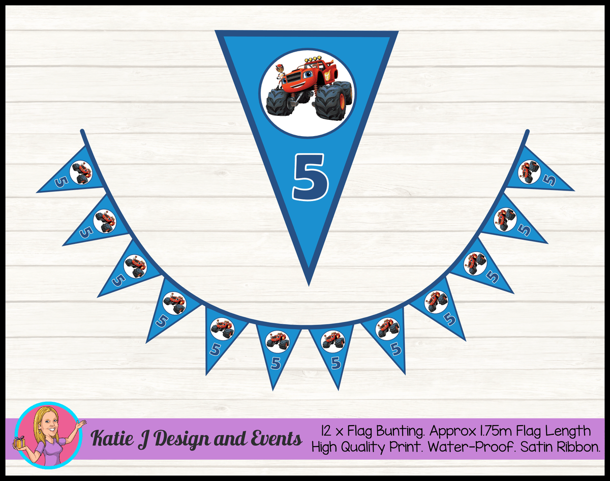 Blaze and the Monster Machines Personalised Birthday Party Bunting