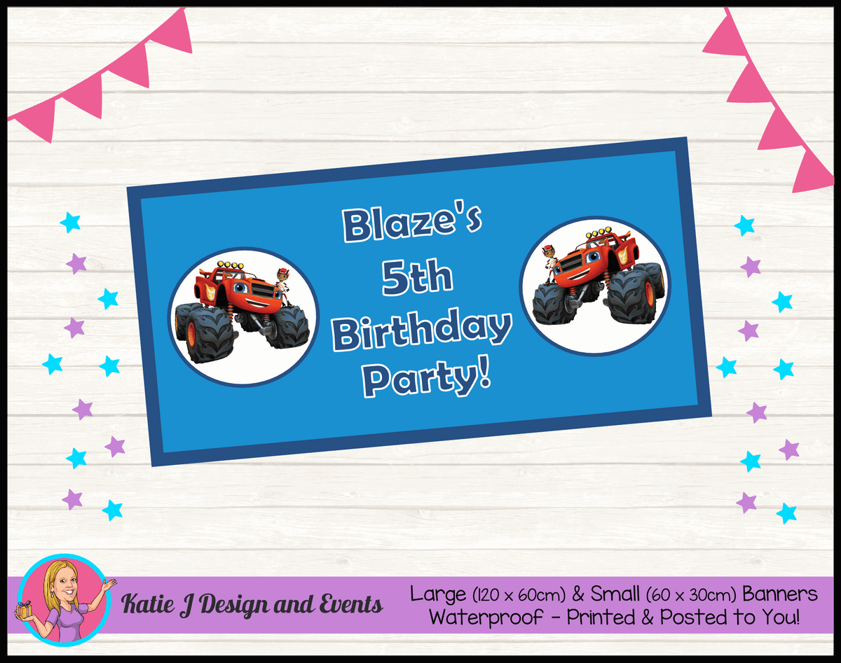 Blaze and the Monster Machines Personalised Birthday Party Banners