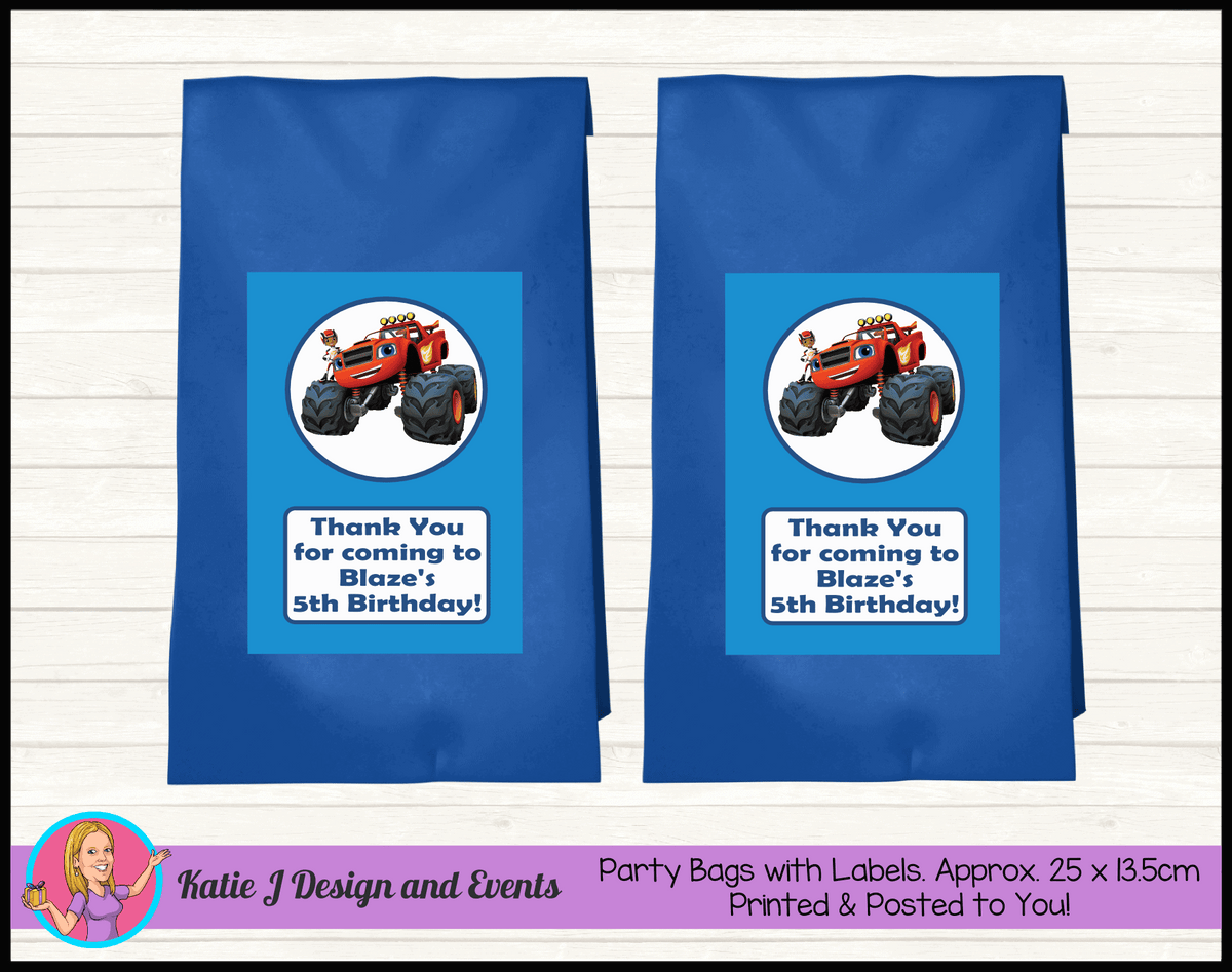 Blaze and the Monster Machines Personalised Birthday Party Loot Bags
