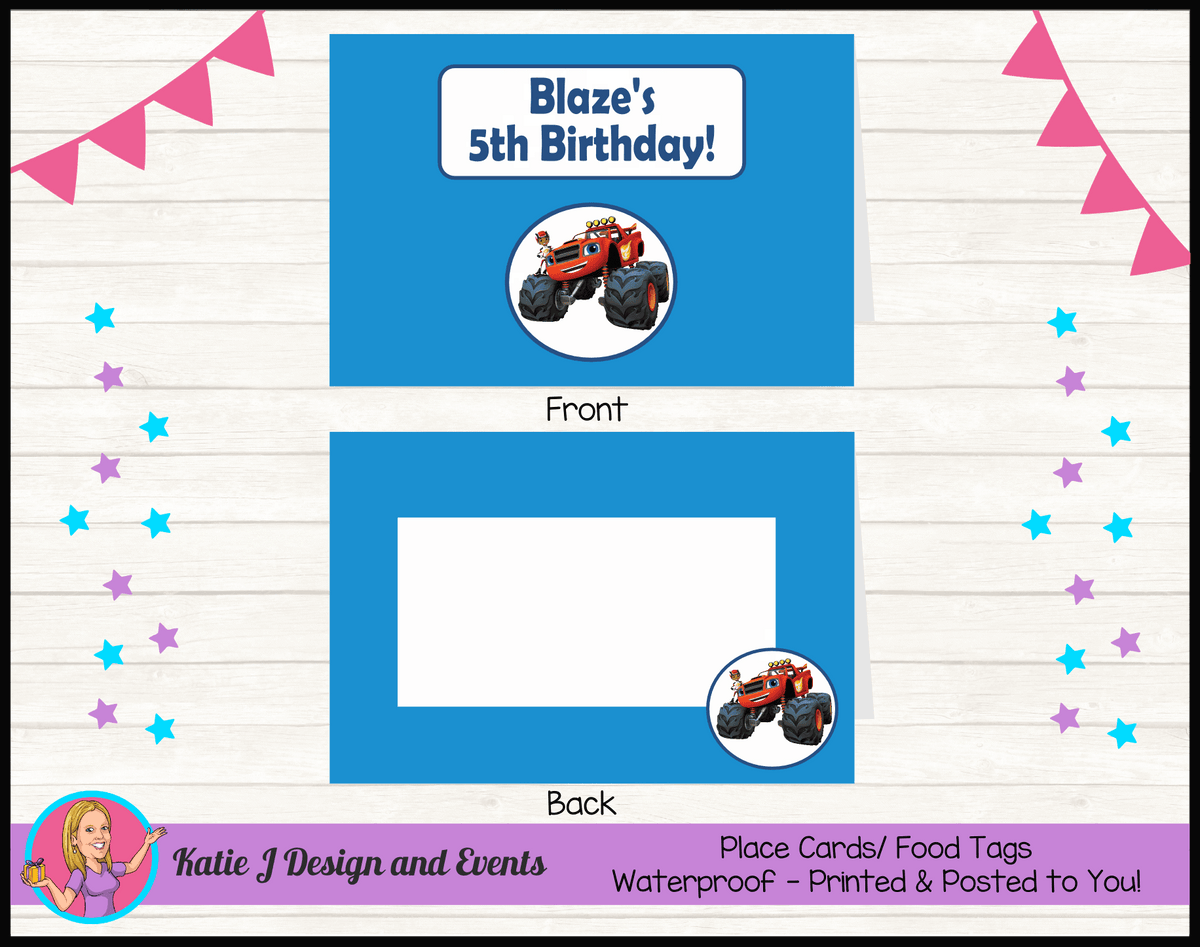 Blaze and the Monster Machines Personalised Birthday Party Place Cards