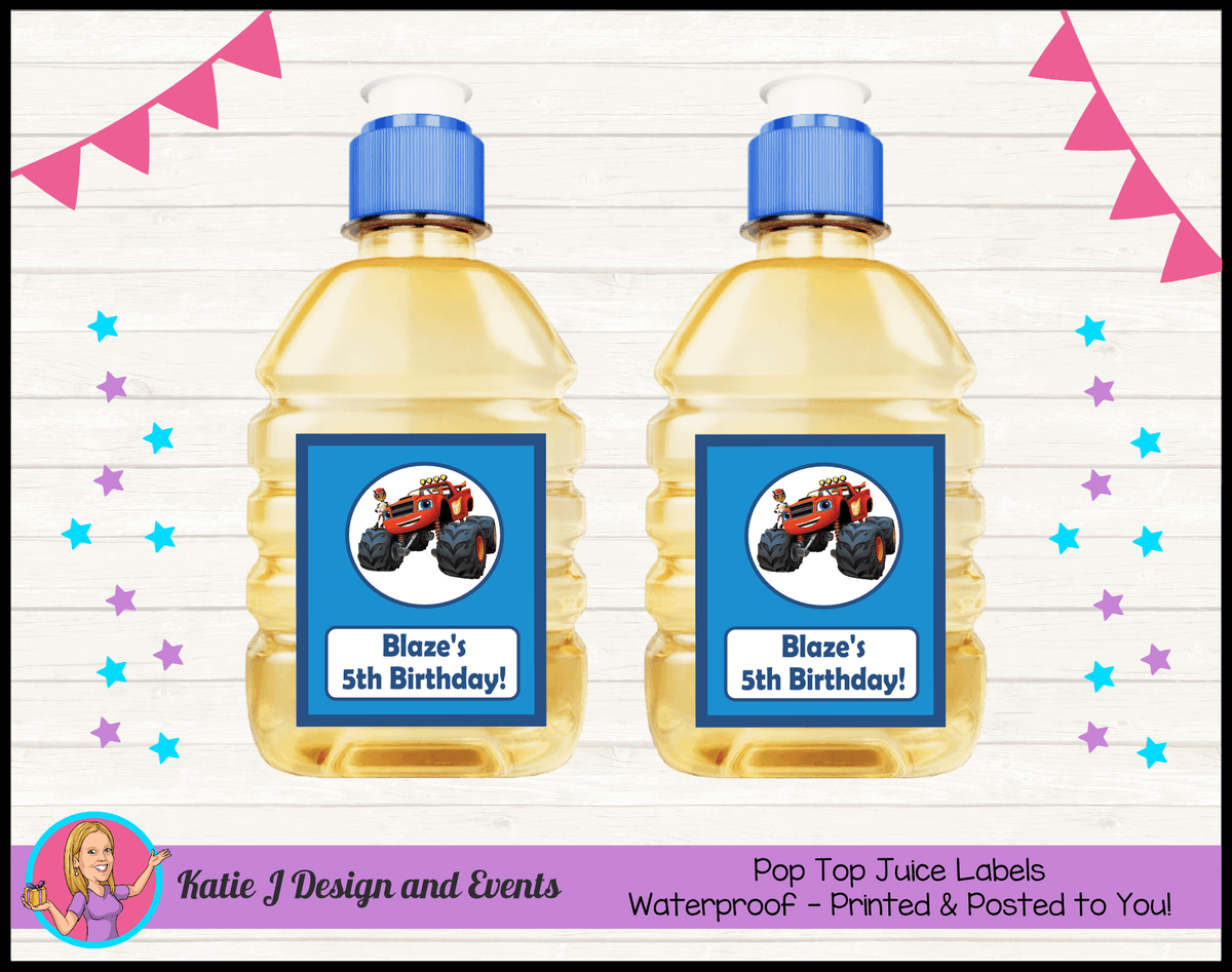 Blaze and the Monster Machines Personalised Pop Top Juice Labels