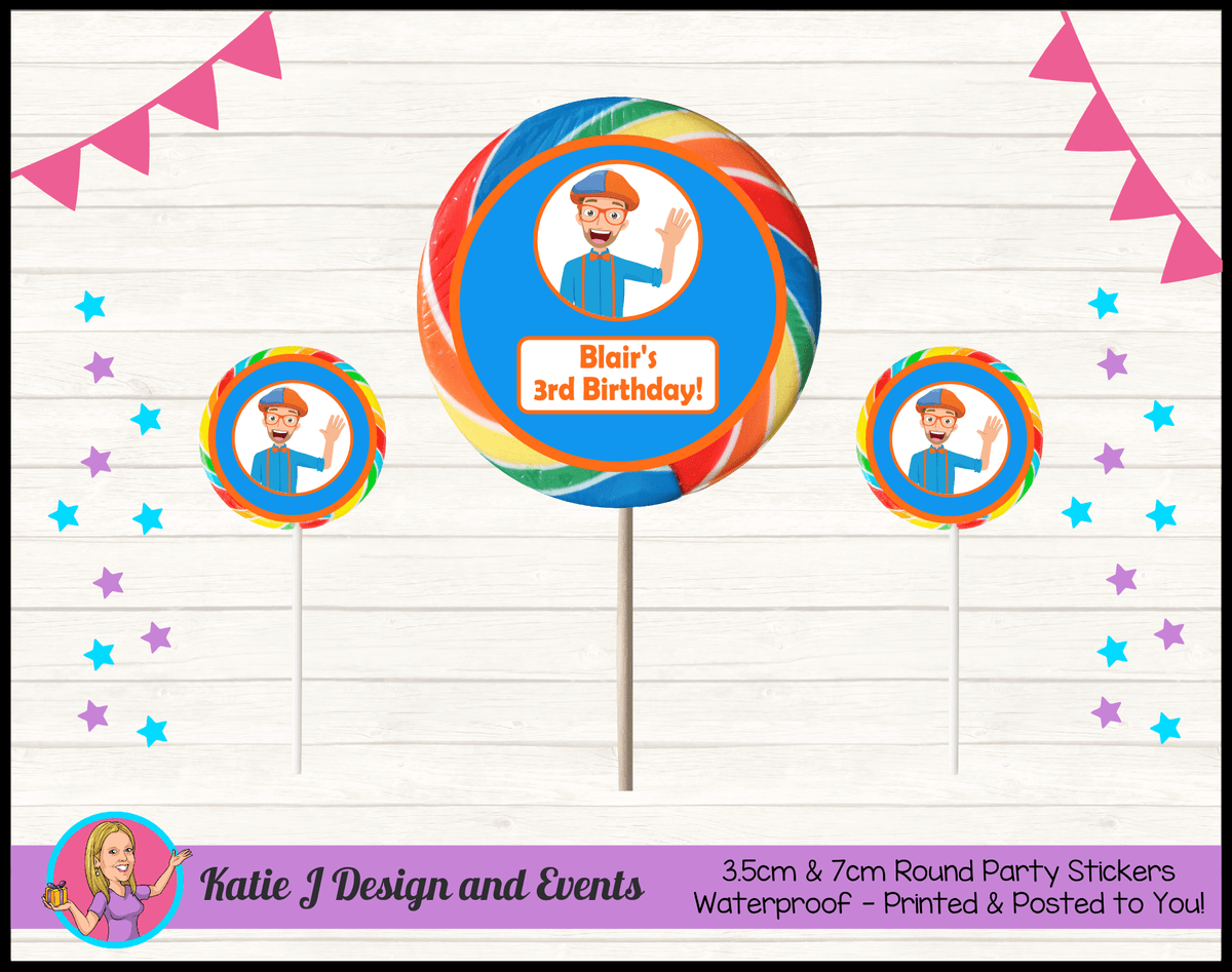 Blippi Personalised Birthday Party Round Lollipop Stickers