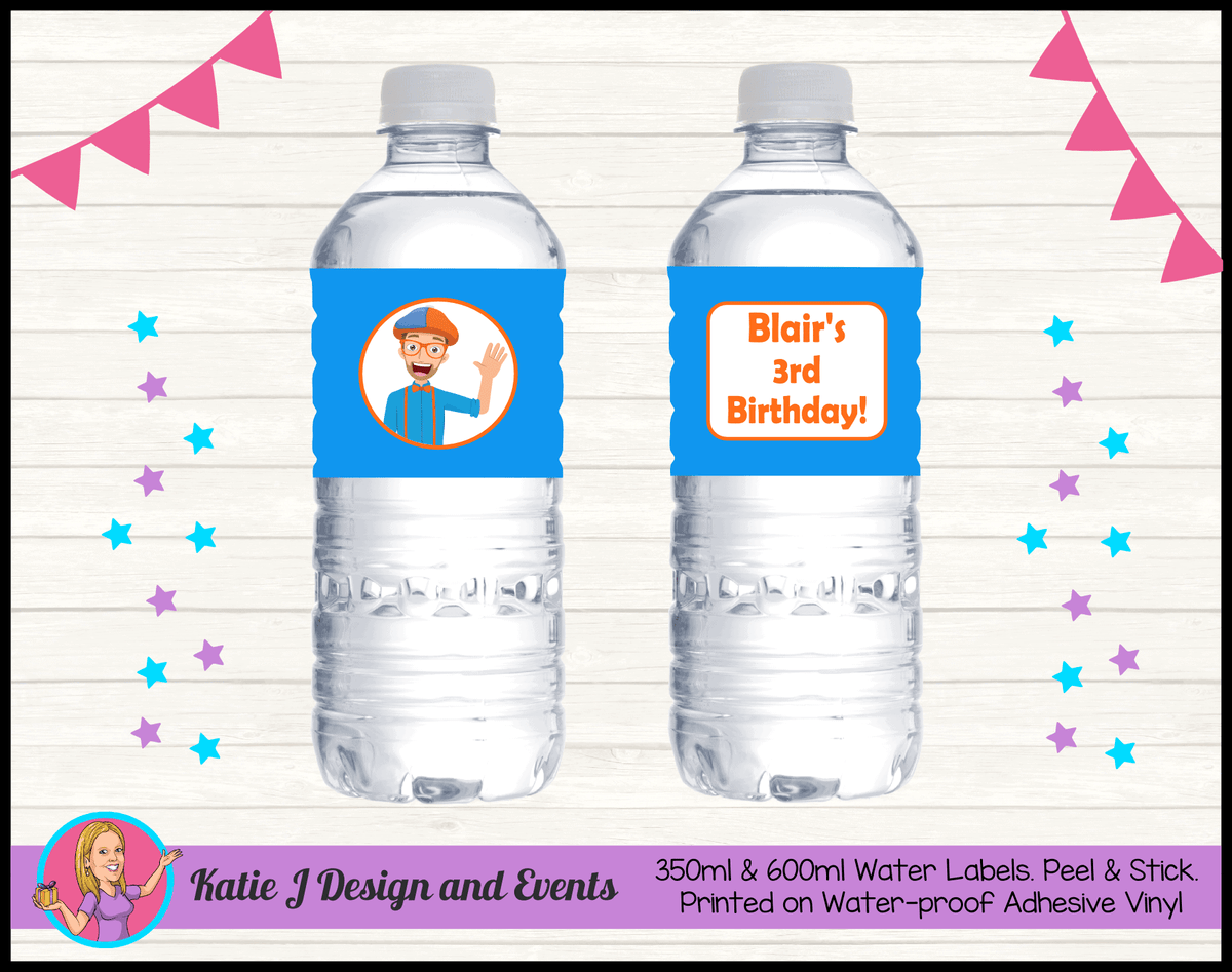 Blippi Personalised Birthday Party Water Bottle Labels