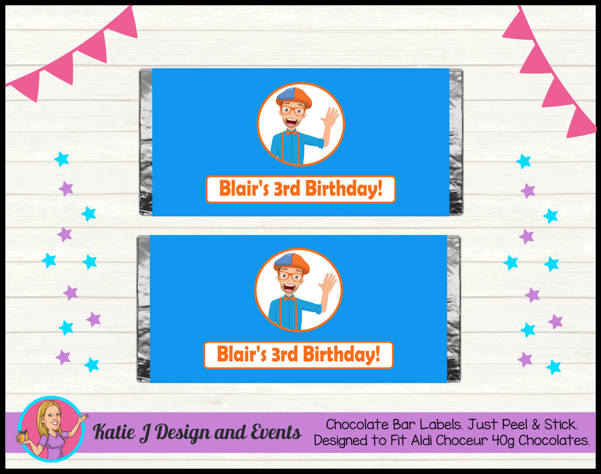 Blippi Personalised Birthday Party Chocolate Labels Wrappers