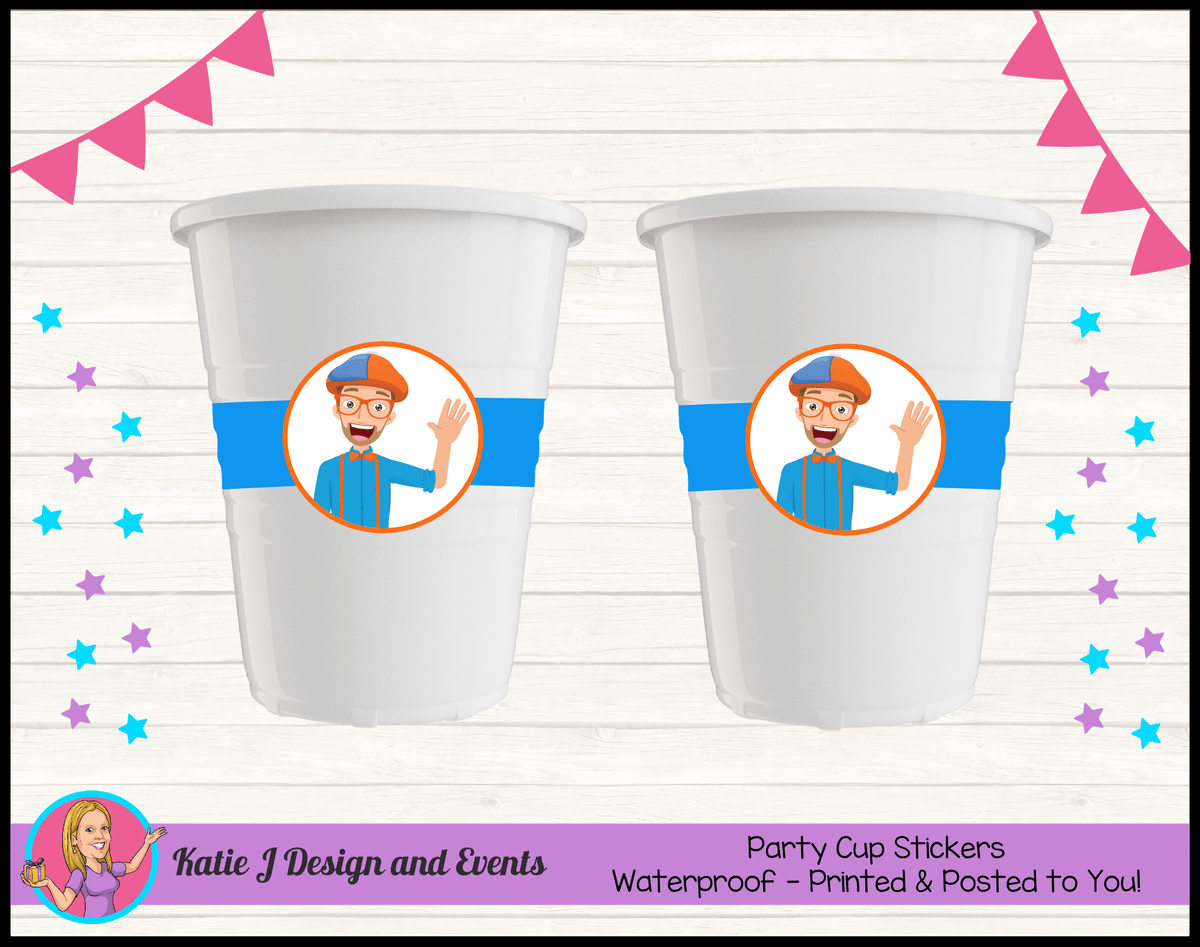 Blippi Personalised Birthday Party Cup Stickers Cups