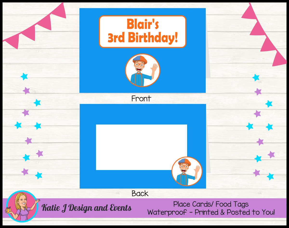 Blippi Personalised Birthday Party Place Cards