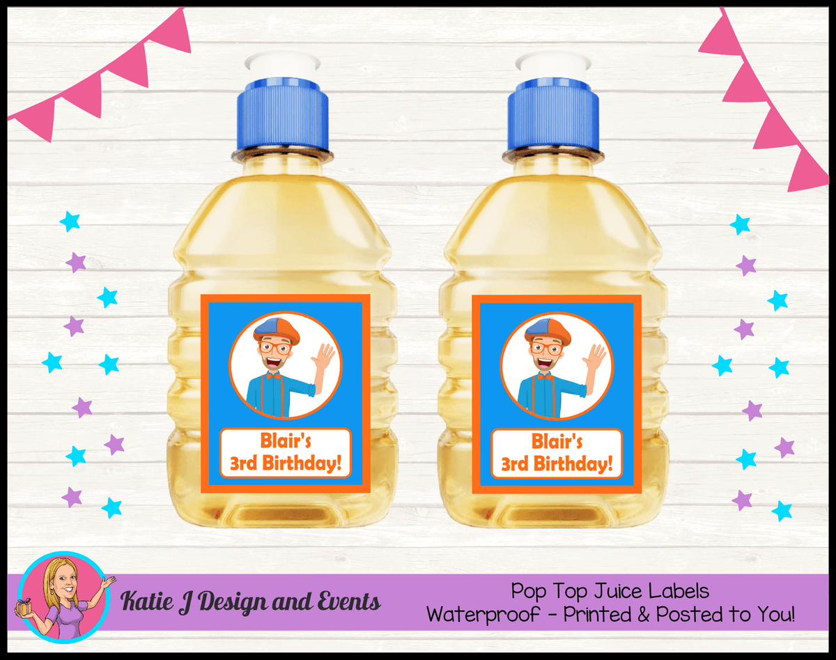 Blippi Personalised Birthday Party Pop Top Juice Labels