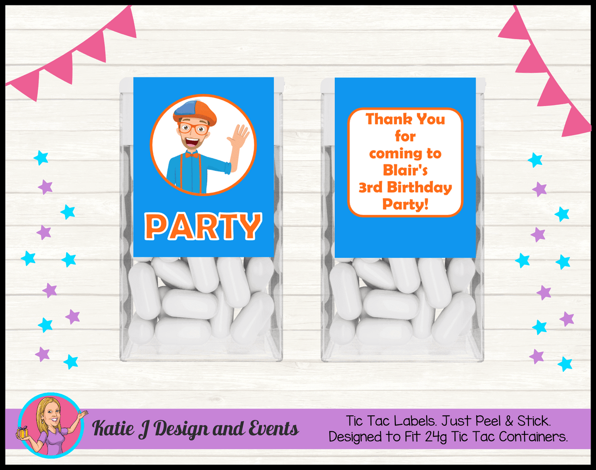 Blippi Personalised Birthday Party Tic Tac Mint Labels