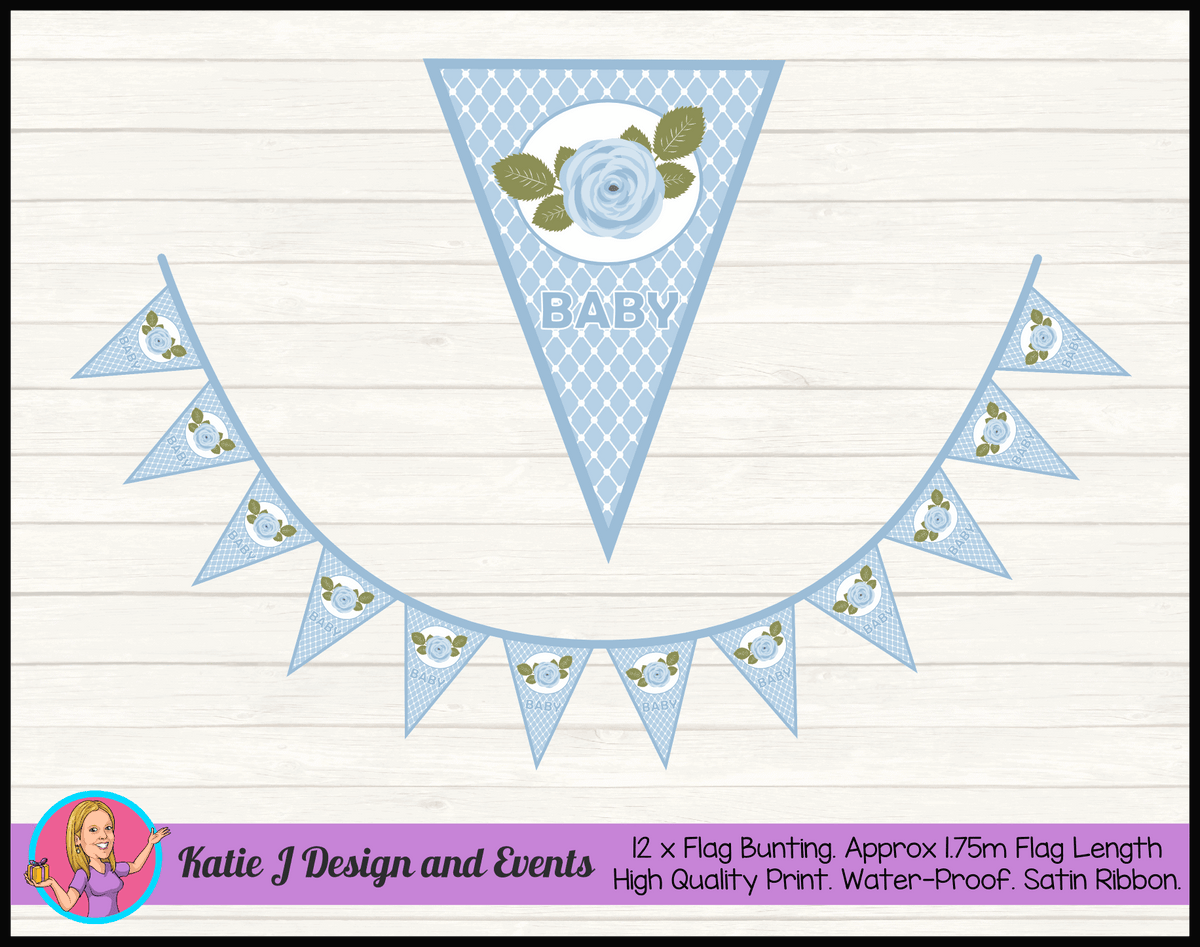 Blue Rose Floral Personalised Baby Shower Flag Bunting