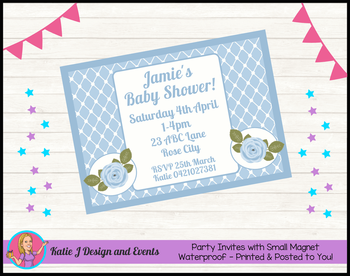 Blue Rose Floral Personalised Baby Shower Invites Invitations
