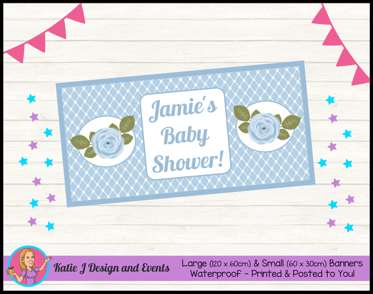 Blue Rose Floral Personalised Baby Shower Banners