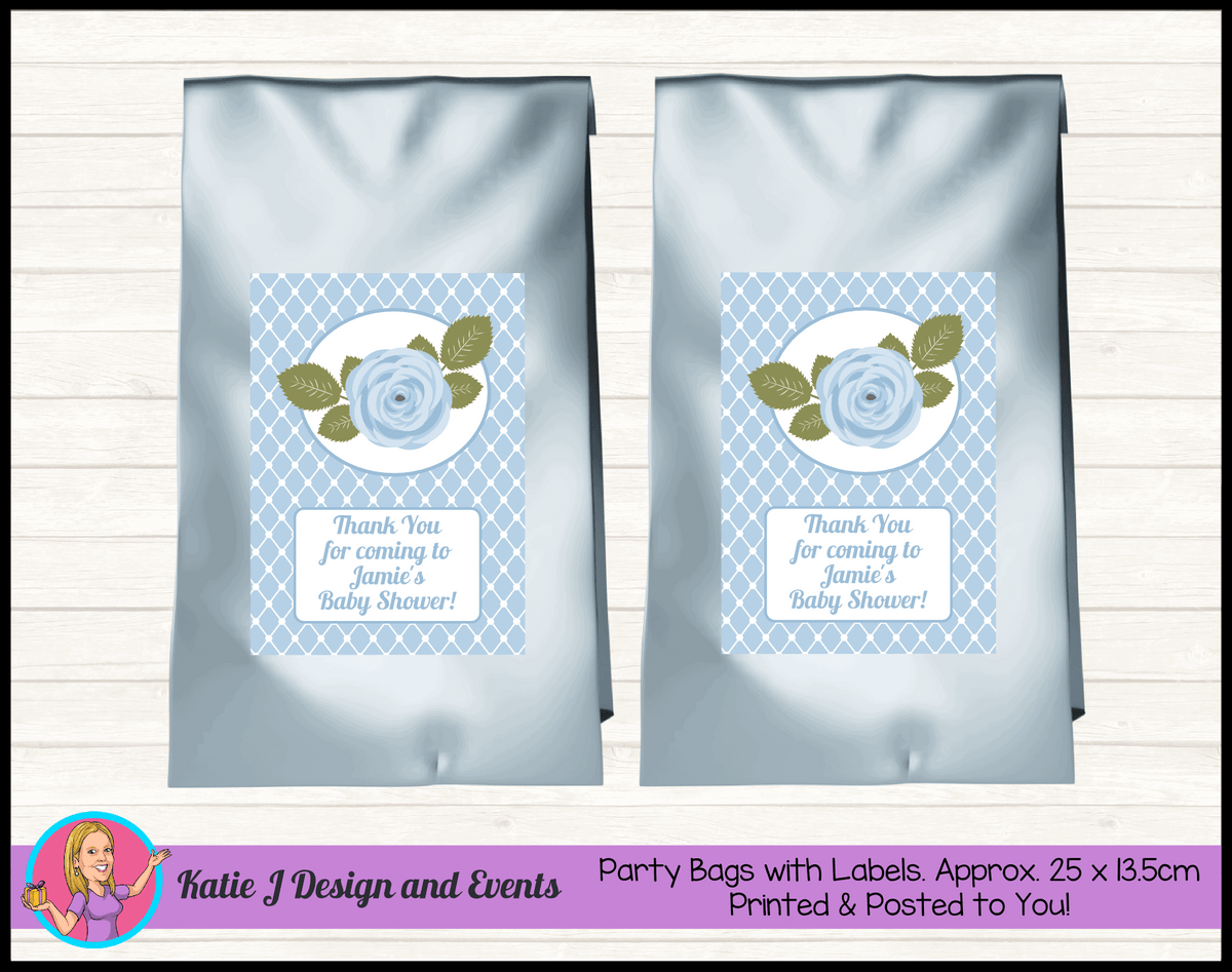 Blue Rose Floral Personalised Baby Shower Party Loot Bags