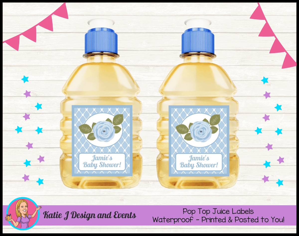 Blue Rose Floral Personalised Baby Shower Pop Top Juice Labels