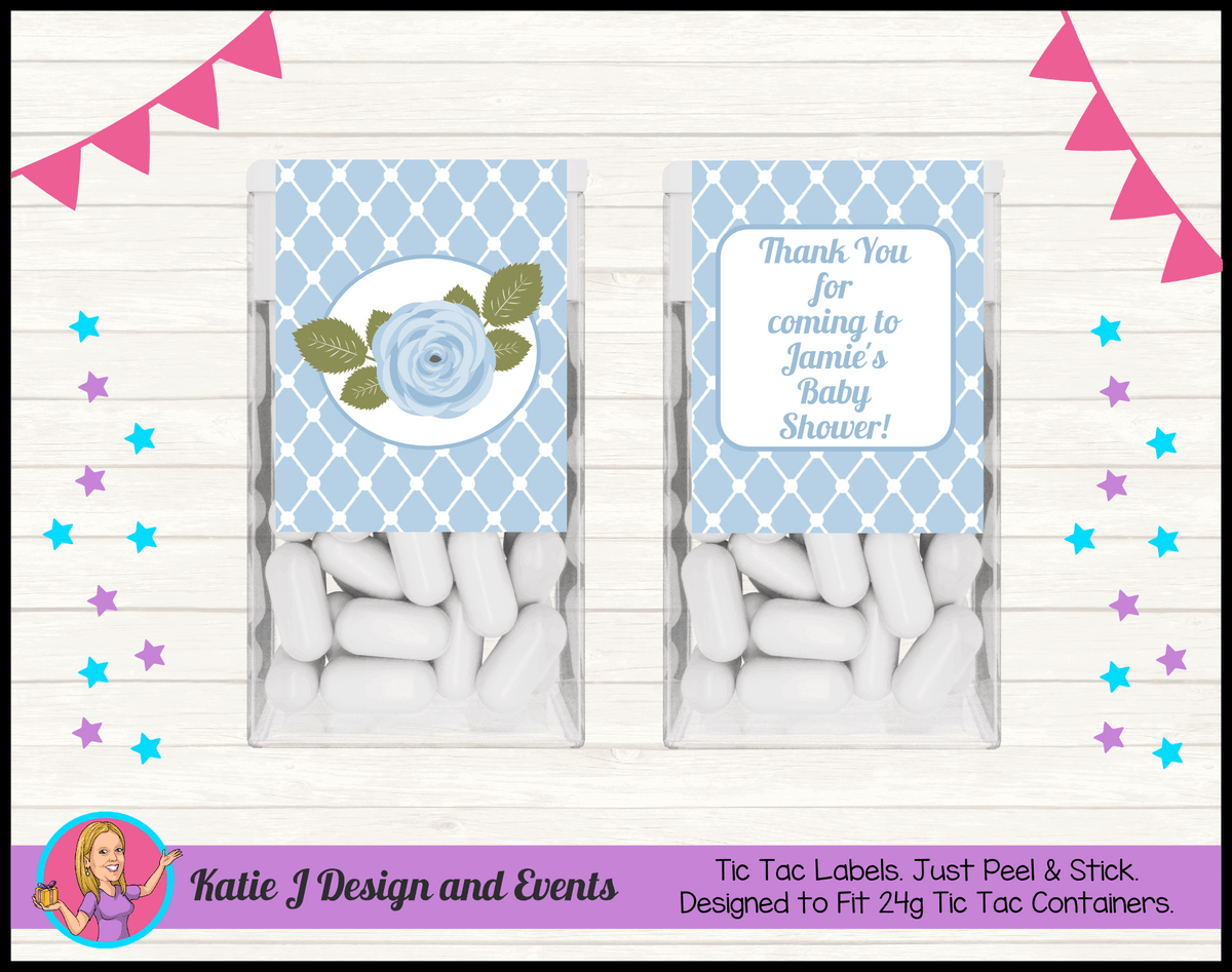 Blue Rose Floral Personalised Baby Shower Tic Tac Labels