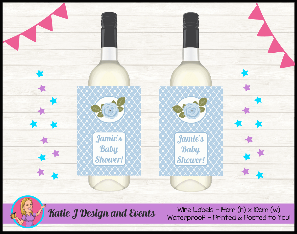 Blue Rose Floral Personalised Baby Shower Wine Bottle Labels