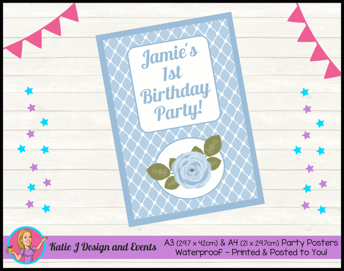Blue Rose Floral Personalised Birthday Party Poster