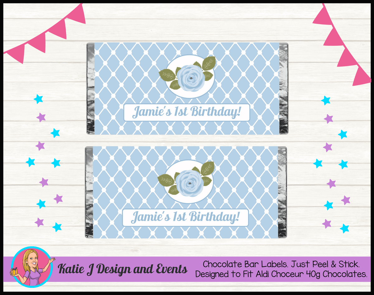 Blue Rose Floral Personalised Birthday Party Chocolate Labels Wrappers