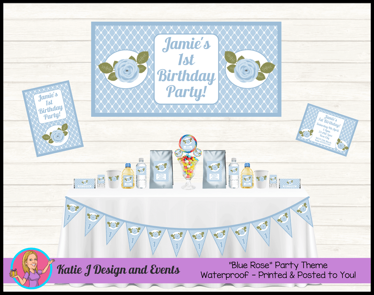 Personalised Blue Floral Birthday Party Packs Decorations Supplies