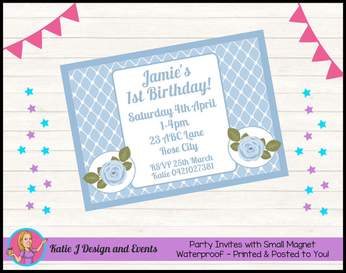 Blue Rose Floral Personalised Birthday Party Invites Invitations