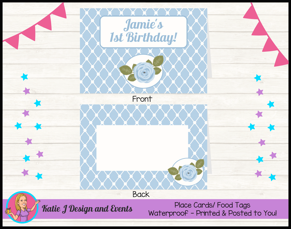 Blue Rose Floral Personalised Birthday Party Place Cards