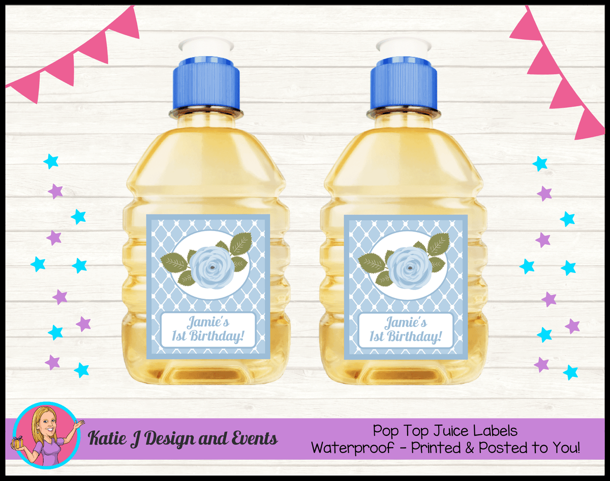 Blue Rose Floral Personalised Birthday Party Pop Top Juice Labels